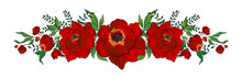 Illustration With Decorative Floral Ornament Of Scarlet Flowers On Isolated White Background