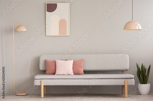 Real Photo Of Grey Sitting Room Interior With Couch Cushions Pastel Pink Lamps