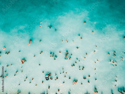 Tuinposter Luchtfoto Aerial Summer View Of Clear Ocean Water Full Of Tourists