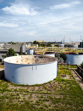 Old Weathered Water Treatment Facility Of A Large Closed Industrial Factory