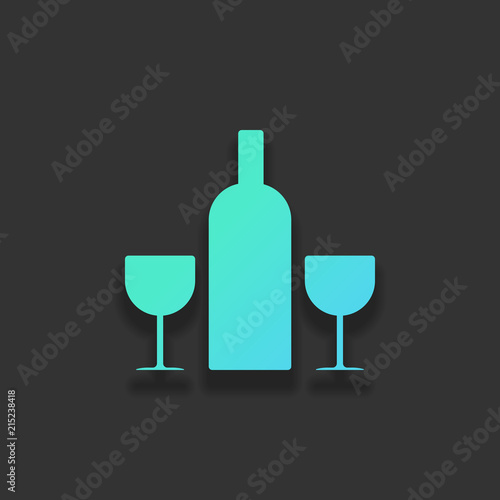 Foto op Canvas Alcohol glasses and bottle. Colorful logo concept with soft shadow on da