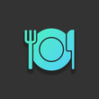 cutlery. plate fork and knife. simple silhouette. Colorful logo
