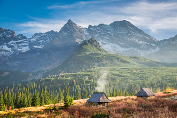 Wooden cottages in the Tatra Mountain in Poland