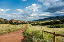 Coyote Song Trail With Fence At South Valley Park Open Space In Jefferson County, Colorado