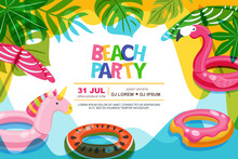 Swimming Pool Frame With Flamingo And Unicorn Float Kids Toys. Beach Party Vector Summer Poster, Flyer, Banner Design Template. Trendy Doodle Illustration.