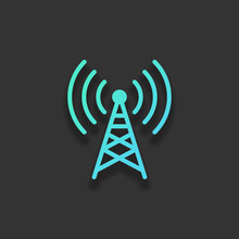 Radio Tower Icon. Linear Style. Colorful Logo Concept With Soft