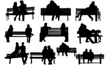 Couple On A Bench Silhouette |...