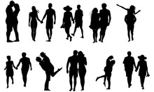 Couple On Honeymoon Silhouette | Love Vector | Romantic Holding Hands | Clipart Clip Art Logo