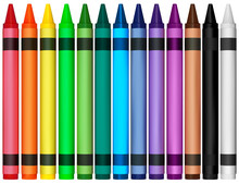 Colorful Wax Crayons - Colored Illustration For Your Graphic Design, Vector