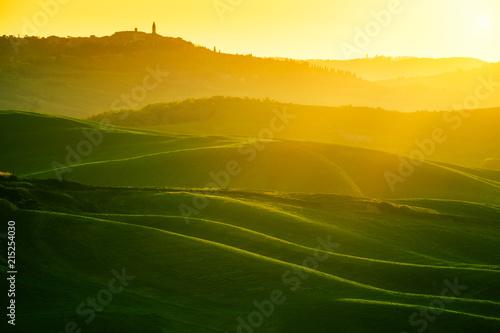 Stampa su Tela Waves hills, rolling hills, minimalistic landscape