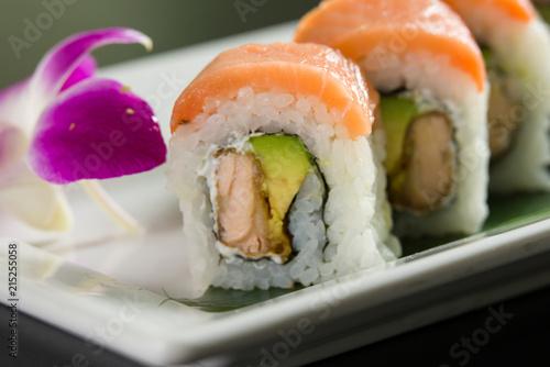 Foto op Plexiglas Sushi bar Sushi on a white plate