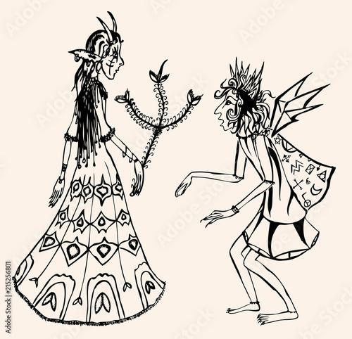 Foto op Plexiglas Meeting of two fairytale creatures