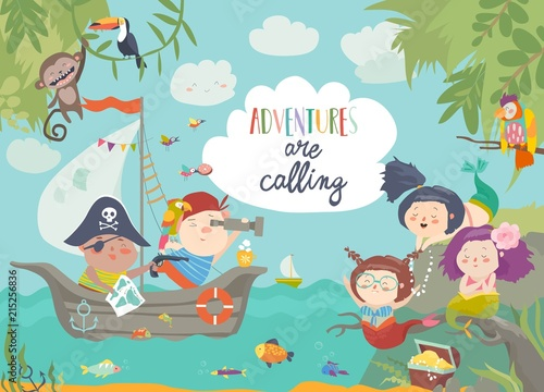 Cute pirates and beautiful mermaids