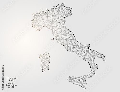 Fotografie, Tablou  A map of Italy consisting of 3D triangles, lines, points, and connections