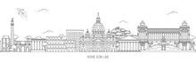 Rome Thin Line Skyline Vector ...