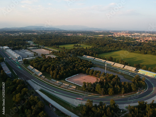 Foto op Aluminium F1 monza circuit aerial view shot from drone on sunset