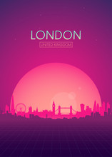 Travel Poster Vectors Illustrations, Futuristic Retro Skyline London