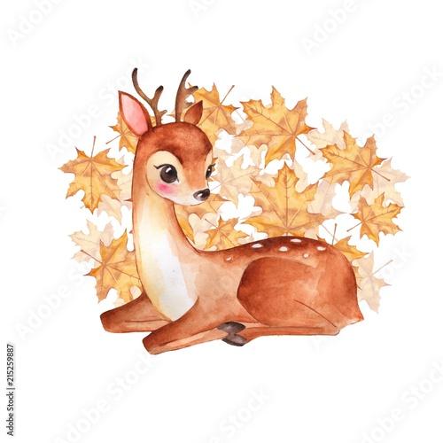 Photo Baby Deer. Cute fawn. Autumn illustration