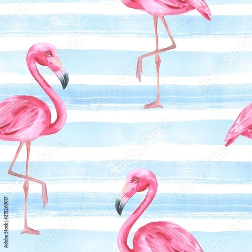 Keuken foto achterwand Flamingo Tropical bird. Pink flamingo. Watercolor seamless pattern 4