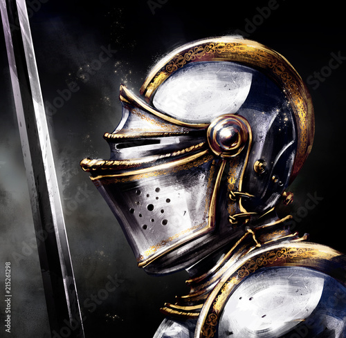 Crusader in shining armor with a sword Poster Mural XXL