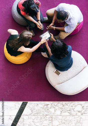 Fotografie, Obraz  Workspace: Overhead Group Of Casual Employee Meeting
