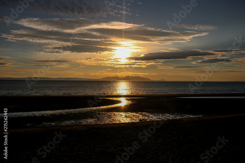 Isle of Arran from Aye Beach at Sunset Wallpaper Mural