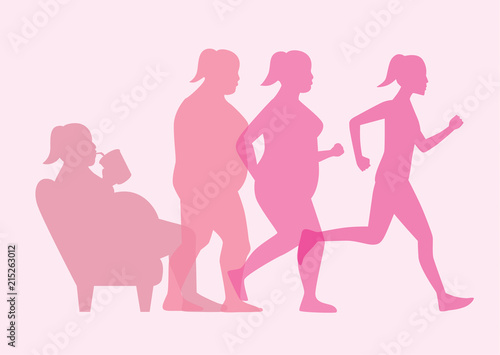 Fotografía  Fat woman stand up from sofa for loss weight with jogging