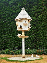 Dovecote In A Garden With White Doves