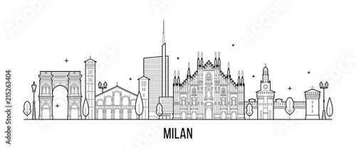 Milan skyline Italy city buildings vector Wallpaper Mural