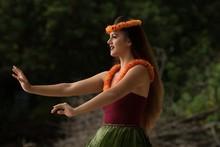 Hawaii Hula Dancer Dancing In Costume