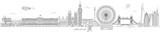 Fototapeta Londyn - London Thin Line Vector Skyline