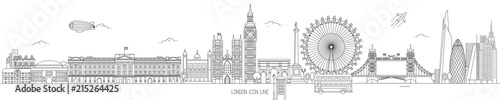 Fototapeta London Thin Line Vector Skyline obraz
