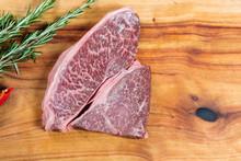Raw Beef Wagyu Rump Steak On Chopping Board