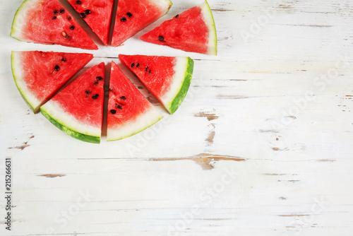 Papiers peints Pays d Afrique Slices of watermelon on white background