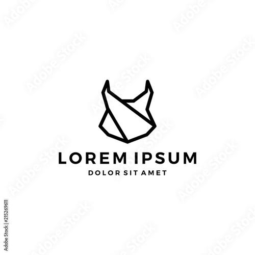 Fotografia, Obraz geometric lynx head black logo vector icon line outline monoline