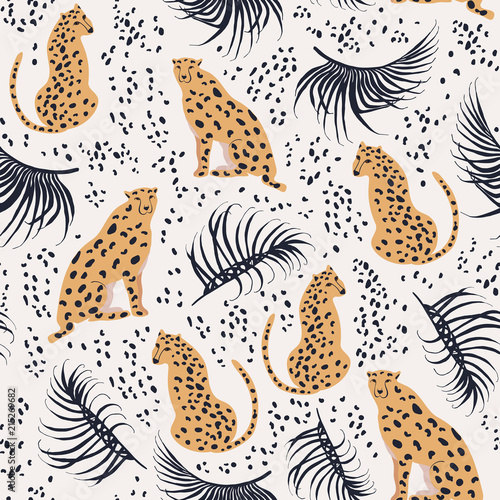 Cheetah with palm leaves seamless pattern. Summer paradise in tropical jungles with wild animals, and fantastic florals. Wall mural