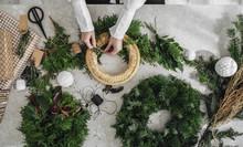 Woman Making A Christmas Wreath