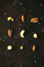 Mixed Salted Nuts From Overhead
