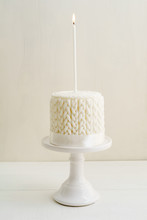 White Winter Birthday Cake With Knitted Pattern Made Of Fondant