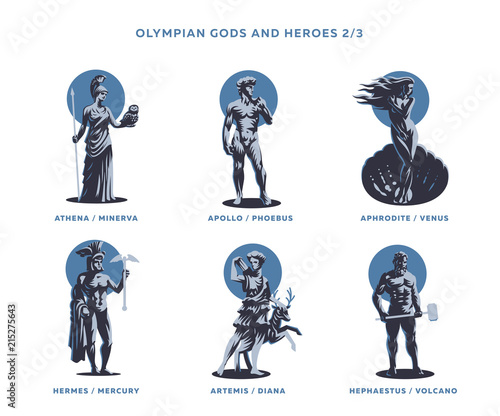 Olimpian gods and heroes. Canvas Print