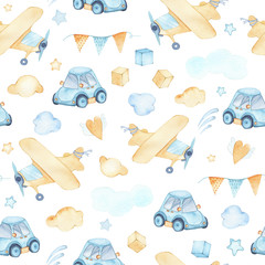 Fototapeta Watercolor seamless pattern with boys toys airplane car cubes clouds