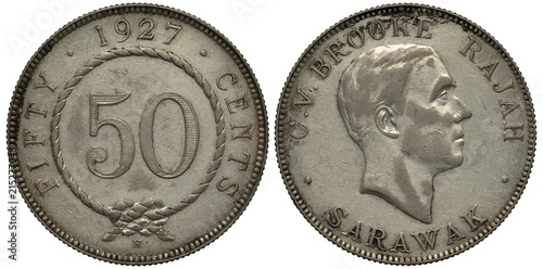 Photo  Sarawak coin 50 fifty cents 1927, face value within rope with knot, date above,