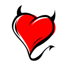Devil Red Heart With Horns On White Background