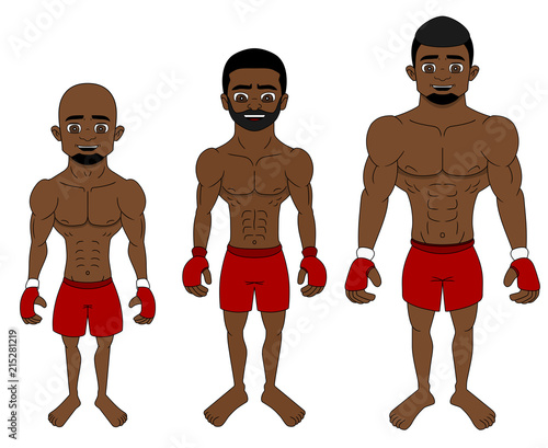 Photo Cartoon MMA fighters in different weight categories