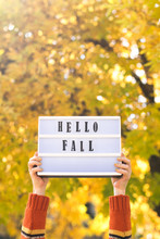 Woman Holding Hello Fall Message On Light Box