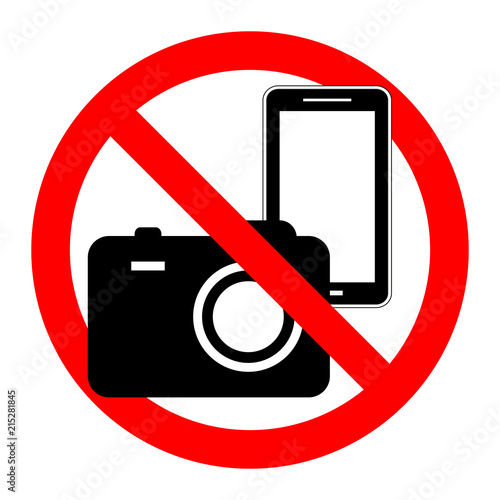 , Prohibition symbol sticker for area places, Isolated on white background, No, No camera and mobile phone sign Wall mural