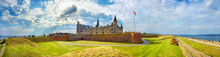 Fortifications With Cannons And Walls Of Fortress In Kronborg Castle (Castle Of Hamlet). Helsingor, Denmark