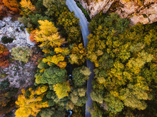 Aerial View Of Country Roads At Autumn