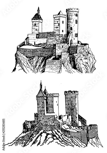 Graphical Castle of Foix on white background   ,France,medieval sketch of castle Canvas Print