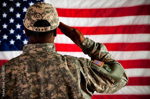 Fotografie, Obraz  Soldier: Man Saluting Flag